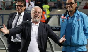 Napoli's SD Cristiano Giuntoli with the President Aurelio De Laurentis and the Coach Maurizio Sarri  before  the Italian Serie A soccer match US Sassuolo vs SSC Napoli at Mapei Stadium in Reggio Emilia,Italy, 23 August 2015.ANSA/SERENA CAMPANINI