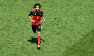 Belgium's midfielder Axel Witsel celebrates his goal during the Euro 2016 group E football match between Belgium and Ireland at the Matmut Atlantique stadium in Bordeaux on June 18, 2016. / AFP PHOTO / MEHDI FEDOUACH