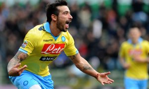 Napoli's Argentinian forward Ezequiel Ivan Lavezzi celebrates after scoring against Parma during Italian Serie A football  match on March 4, 2012 at Tardini Stadium in Parma. AFP PHOTO / Tiziana Fabi (Photo credit should read TIZIANA FABI/AFP/Getty Images)