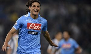 Napoli's Huruguayan forward Edinson Roberto Cavani celebrates scoring against Juventus during the final of the Cup of Italy Juventus vs Napoli at the Olympic Stadium in Rome on May 20, 2012. AFP PHOTO / FILIPPO MONTEFORTE        (Photo credit should read FILIPPO MONTEFORTE/AFP/GettyImages)