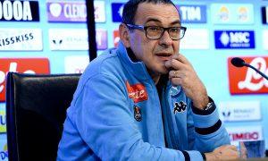 L'allenatore del Napoli Maurizio Sarri durante la conferenza stampa alla vigilia della gara a Genova con la Sampdoria, 23 gennaio 2016. ANSA / CIRO FUSCO