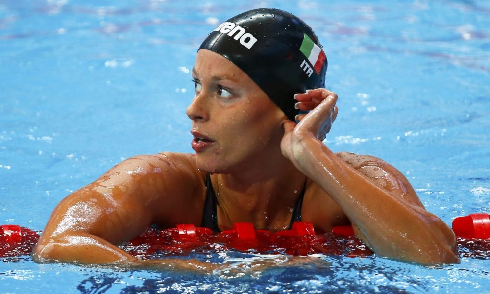 Italy's Federica Pellegrini looks up after competing in the women's 200m freestyle preliminaries at the Aquatics World Championships in Kazan, Russia, August 4, 2015.              REUTERS/Michael Dalder
