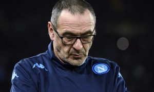 Napoli's coach Maurizio Sarri looks down as he follows the Europa League, round of 32, second-leg soccer match between Napoli and Villareal, at the San Paolo stadium in Naples, Italy, Thursday, Feb. 25, 2016. (AP Photo/Salvatore Laporta)