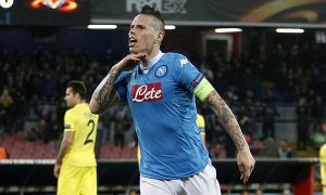 during the UEFA Europa League Round of 32 second leg match between Napoli and Villarreal on February 25, 2016 in Naples, Italy.