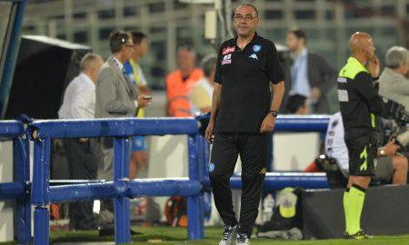 Napoli's coach Maurizio Sarri reacts during the Italian Serie A soccer match Pescara Calcio vs SSC Napoli at Adriatico-Giovanni Cornacchia stadium in Pescara, Italy, 21 August 2016.  ANSA/MASSIMILIANO SCHIAZZA