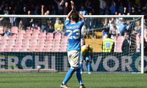 As Napoli 10/04/2016 - campionato di calcio serie A / Napoli-Hellas Verona / foto Antonello Sammarco/Image Sport nella foto: esultanza gol Manolo Gabbiadini