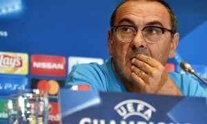 Napoli's coach Maurizio Sarri attends a press conference  at the Olympiyski Stadium in Kiev on September 12, 2016 on the eve of the UEFA Champions League football match between FC Dynamo and SSC Napoli.   / AFP PHOTO / SERGEI SUPINSKY