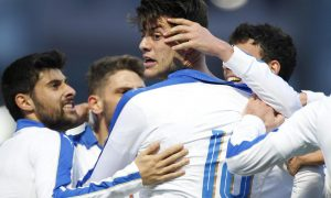 Foto LaPresse - Spada 29 marzo 2016 , la Vella (Principato di Andorra) Sport Calcio Andorra vs Italia -  Under 21 - Qualificazione Campionati Europei 2017 Nella foto: cerri esultanza dopo gol 0-1    Photo LaPresse - Spada March 29 , 2016 la Vella (Principality of Andorra) Sport Soccer Andorra vs  Italy - Under 21 - Qualification European Championship 2017 In the pic:  cerri celebrate after scoring 0-1
