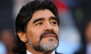 CAPE TOWN, SOUTH AFRICA - JULY 03:  Diego Maradona head coach of Argentina looks on prior to the 2010 FIFA World Cup South Africa Quarter Final match between Argentina and Germany at Green Point Stadium on July 3, 2010 in Cape Town, South Africa.  (Photo by Cameron Spencer/Getty Images)