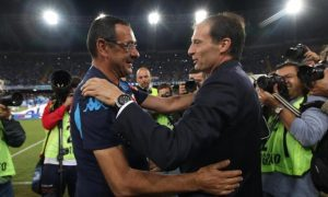 Italian head coach of SSC Napoli Murizio Sarri (L) greets Italian head coach of FC Juventus Massimiliano Allegri during their Italian Serie A soccer match at San Paolo Stadium in Naples, 26 September 2015. ANSA/CESARE ABBATE
