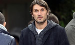 Italian AC Milan former defender and captain, Paolo Maldini, looks on in the tribune prior the Italian Serie A soccer match AC Milan vs SS Lazio at Giuseppe Meazza stadium in Milan, Italy, 02 March 2013. ANSA/MATTEO BAZZI