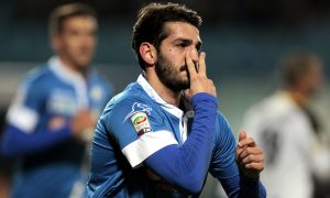 EMPOLI, ITALY - JANUARY 26: Riccardo Saponara of Empoli FC celebrates after scoring a goal during the Serie A match between Empoli FC and Udinese Calcio at Stadio Carlo Castellani on January 26, 2015 in Empoli, Italy.  (Photo by Gabriele Maltinti/Getty Images)