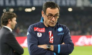 Napoli's coach Maurizio Sarri looks on prior the Italian Serie A soccer match SSC Napoli vs FC Inter at San Paolo stadium in Naples, Italy, 30 November 2015. ANSA/CESARE ABBATE