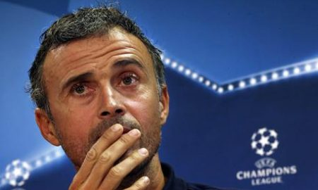 epa05590359 FC Barcelona's head coach Luis Enrique attends a press conference at Joan Gamper sport city in Sant Joan Despi, Barcelona, Spain, 18 October 2016. FC Barcelona will face Manchester City in an UEFA Champions League group C match on 19 October 2016 in Barcelona.  EPA/ALBERTO ESTEVEZ