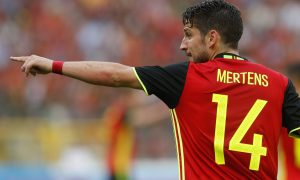 epa05347713 Dries Mertens of Belgium reacts during an international friendly soccer match between Belgium and Norway at the King Baudouin stadium in Brussels, Belgium, 05 June 2016. Belgium is preparing for UEFA Euro 2016 soccer championships taking place from 10 June to 10 July 2016 in France.  EPA/LAURENT DUBRULE