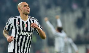 """Juventus' forward from Italy Simone Zaza celebrates scoring his team's first goal during the Italian Serie A  football match Juventus Vs Napoli on February 13, 2016 at the """"Juventus Stadium"""" in Turin. / AFP / GIUSEPPE CACACE        (Photo credit should read GIUSEPPE CACACE/AFP/Getty Images)"""