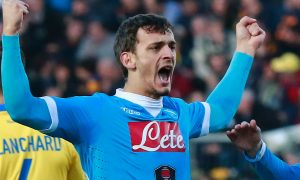 Napoli's Italian forward Manolo Gabbiadini celebrates after scoring during the Italian Serie A football match Frosinone Calcio vs SSC Napoli on January 10, 2016 at the Matusa Stadium in Frosinone.   / AFP / CARLO HERMANN        (Photo credit should read CARLO HERMANN/AFP/Getty Images)