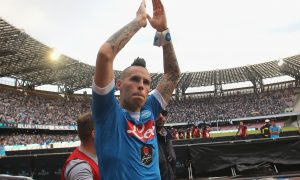 NAPLES, ITALY - OCTOBER 18:  Marek Hamsik of Napoli celebrates after the Serie A match between SSC Napoli and ACF Fiorentina at Stadio San Paolo on October 18, 2015 in Naples, Italy.  (Photo by Maurizio Lagana/Getty Images)