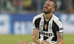 Juventus' defender Leonardo Bonucci reacts during the UEFA Champions League football match Juventus vs FC Sevilla on September 14, 2016 at the Juventus Stadium in Turin.  / AFP / MARCO BERTORELLO        (Photo credit should read MARCO BERTORELLO/AFP/Getty Images)