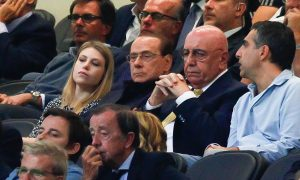 "Foto LaPresse - Spada 19 settembre 2015 Milano  ( Italia) Sport Calcio Milan - Palermo  Campionato di Calcio Serie A TIM 2015 2016 - "" Stadio San Siro "" Nella foto: barbara berlusconi silvio berlusconi e galliani  Photo LaPresse - Spada 19 Semptember 2015 Milan ( Italy) Sport Soccer Milan - Palermo Italian Football Championship League A TIM 2015 2016 - "" San Siro  Stadium "" In the pic: barbara berlusconi silvio berlusconi galliani"