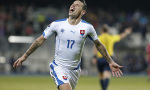 epa04975466 Slovakia's Marek Hamsik celebrates after scoring a goal during the UEFA EURO 2016 qualifying match between Luxembourg and Slovakia at Josy Barthel stadium in Luxembourg, 12 October 2015.  EPA/JULIEN WARNAND