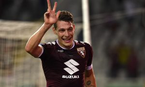 TURIN, ITALY - AUGUST 28:  Andrea Belotti of FC Torino celebrates his third goal during the Serie A match between FC Torino and Bologna FC at Stadio Olimpico di Torino on August 28, 2016 in Turin, Italy.  (Photo by Valerio Pennicino/Getty Images)