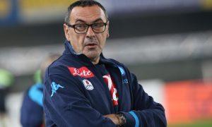 L'allenatore del Napoli Maurizio Sarri durante la partita Chievo-Napoli del campionato di serie A allo stadio Bentegodi di Verona, 25 ottobre  2015. ANSA/FILIPPO VENEZIA