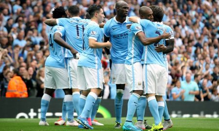 Manchester City's Fernandinho (second right) celebrates scoring his side's third goal of the game with his team-mates (Sharon Latham / Manchester City FC via AP Images) THIS CONTENT IS PART OF A PREMIUM CONTRIBUTOR COLLECTION AND CARRIES MINIMUM USAGE FEES, CONTACT YOUR LOCAL SALES REPRESENTATIVE FOR PRICING.