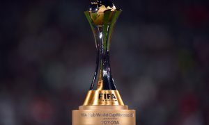 MARRAKECH, MOROCCO - DECEMBER 21:  The trophy is seen during the FIFA Club World Cup Final between FC Bayern Muenchen and Raja Casablanca at Marrakech Stadium on December 21, 2013 in Marrakech, Morocco.  (Photo by Lars Baron/Bongarts/Getty Images)
