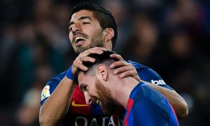 BARCELONA, SPAIN - DECEMBER 18:  Luis Suarez of FC Barcelona celebrates with his team mate Lionel Messi after scoring his team's second goal during the La Liga match between FC Barcelona and RCD Espanyol at the Camp Nou stadium on December 18, 2016 in Barcelona, Spain.  (Photo by David Ramos/Getty Images)