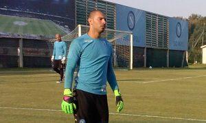 Luigi Sepe nell'allenamento pre Benfica (Foto Alberto Caccia)