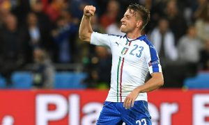 Italy's midfielder Emanuele Giaccherini celebrates after scoring during the Euro 2016 group E football match between Belgium and Italy at the Parc Olympique Lyonnais stadium in Lyon on June 13, 2016. / AFP / VINCENZO PINTO        (Photo credit should read VINCENZO PINTO/AFP/Getty Images)
