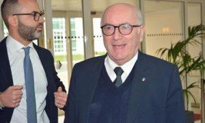 Il presidente della Figc Carlo Tavecchio all'assemblea elettiva della Lega nazionale dilettanti, Fiumicino (Roma), 28 gennaio 2017. ANSA/TELENEWS