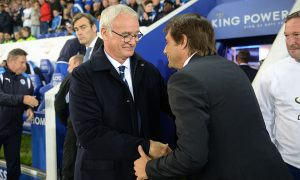 LEICESTER, ENGLAND - SEPTEMBER 20 : Manager Claudio Ranieri of Leicester City welcomes manager Antonio Conte of Chelsea to King Power Stadium ahead of the EFL third round cup match between Leicester City and Chelsea at the King Power Stadium on September 20th , 2016 in Leicester, United Kingdom.  (Photo by Plumb Images/Leicester City FC via Getty Images)