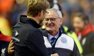 epa05081255 Juergen Klopp (L) and Claudio Ranieri (R) before the English Premier League soccer match between Liverpool and Leicester City at Anfield, Liverpool, Britain, 26 December 2015.  EPA/PETER POWELL EDITORIAL USE ONLY. No use with unauthorized audio, video, data, fixture lists, club/league logos or 'live' services. Online in-match use limited to 75 images, no video emulation. No use in betting, games or single club/league/player publications