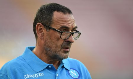NAPOLI, ITALY - SEPTEMBER 17: Napoli's coach Maurizio Sarri looks on during the UEFA Europa League match between Napoli and Club Brugge KV on September 17, 2015 in Naples, Italy.  (Photo by Francesco Pecoraro/Getty Images)