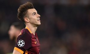 Roma's forward from Italy Stephan El Shaarawy reacts during the UEFA Champions League football match AS Roma vs Real Madrid on Frebruary 17, 2016 at the Olympic stadium in Rome.   AFP PHOTO / ALBERTO PIZZOLI / AFP / ALBERTO PIZZOLI        (Photo credit should read ALBERTO PIZZOLI/AFP/Getty Images)