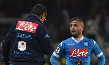 TURIN, ITALY - MAY 08:  SSC Napoli head coach Maurizio Sarri issues instructions to Lorenzo Insigne during the Serie A match between Torino FC and SSC Napoli at Stadio Olimpico di Torino on May 8, 2016 in Turin, Italy.  (Photo by Valerio Pennicino/Getty Images)