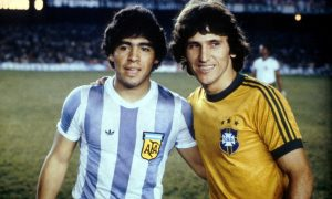 Argenitina Captain Diego Armando Maradona and Brazil Captain Zico