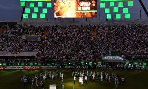 View of the Arena Conda stadium ahead of the Recopa Sudamericana 2017 football match between Colombia's Atletico Nacional and Brazil's Chapecoense, in Chapeco, Santa Catarina, southern Brazil, on April 4, 2017. Most of the members of the Chapocoense football team perished in a November 28, 2016 plane crash in Colombia. / AFP PHOTO / NELSON ALMEIDA