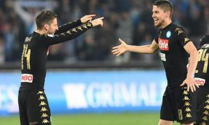 Napoli's forward Dries Mertens (L) jubilates with his teammate Jorginho after scoring the goal 1-0 during italian Serie A soccer match between SSC Napoli and Udinese Calcio at San Paolo stadium in Naples, Italy, 15 April 2017. ANSA / CIRO FUSCO