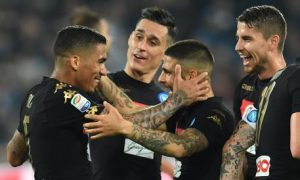 Napoli's midfielder Allan (L) jubilates with his teammates after scoring the goal 2-0 during italian Serie A soccer match between  SSC Napoli and Udinese Calcio at San Paolo stadium in Naples, Italy, 15 April 2017. ANSA / CIRO FUSCO