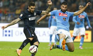 Foto Spada/LaPresse 19 10 2014 Milano (Italia) Sport Calcio Inter - Napoli Campionato italiano di calcio Serie A Tim  2014 2015 Nella foto: icardi albiolPhoto Spada/LaPresse 19 10 2014  Milan (Italy) Sport Soccer Inter - Napoli Italian Football Championship League A Tim 2014 2015 In the picture : icardi albiol