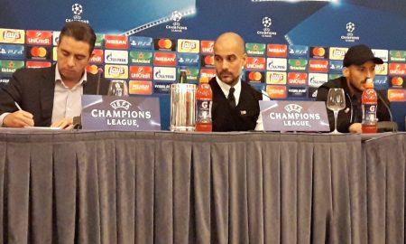 Guardiola e Silva in conferenza all'Hotel Vesuvio a Napoli (FOTO di Alberto Caccia)